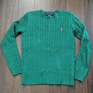 Ralph Lauren Sport green cable knit sweater